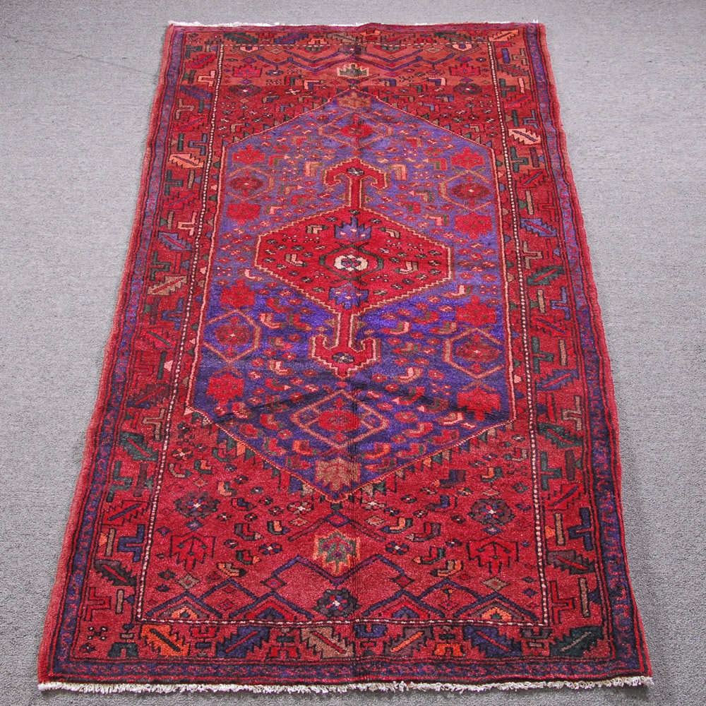 Hand-Knotted Persian Kurdish Bijar Wool Area Rug