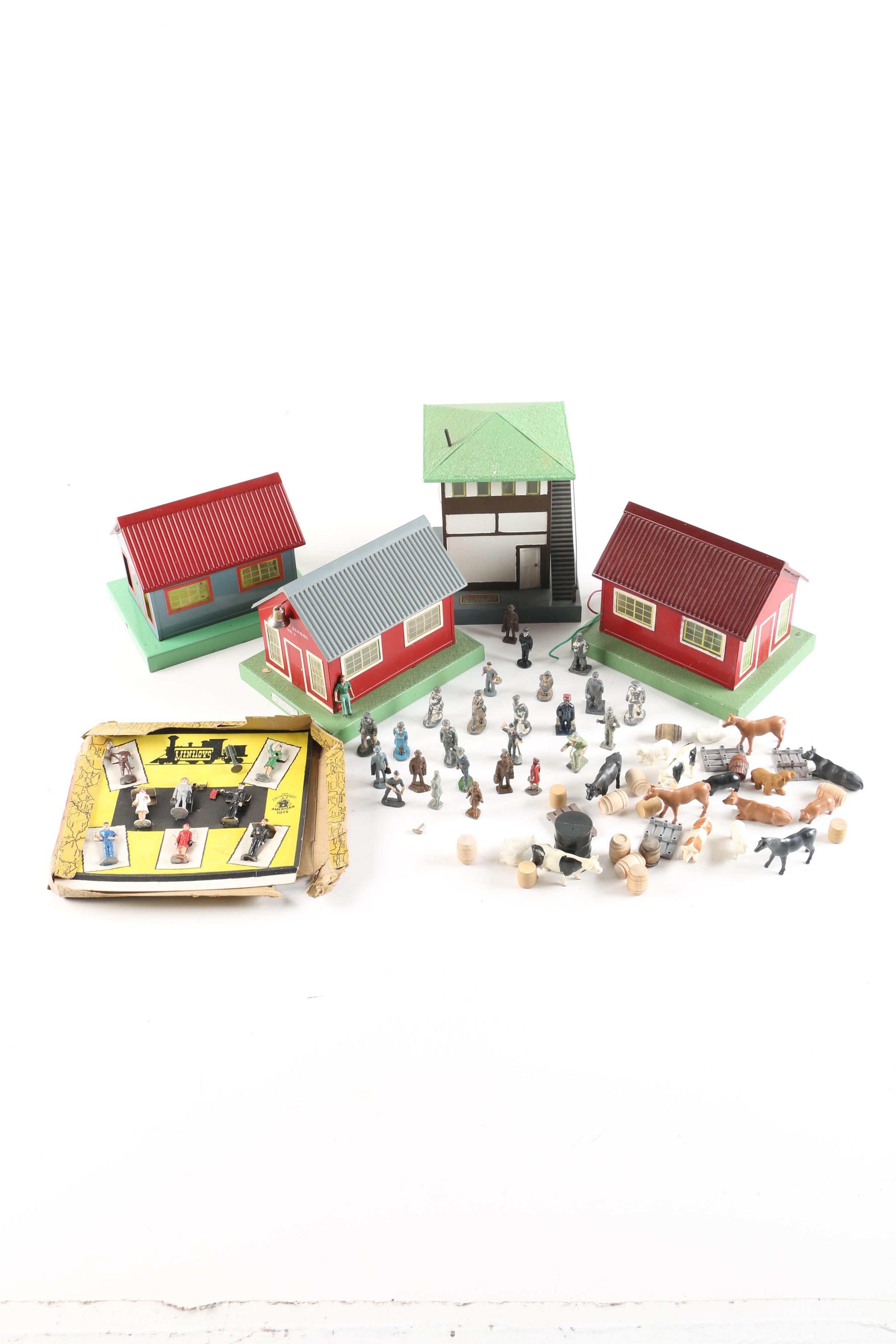Vintage Cast Metal Figures and American Flyer Railroad Buildings