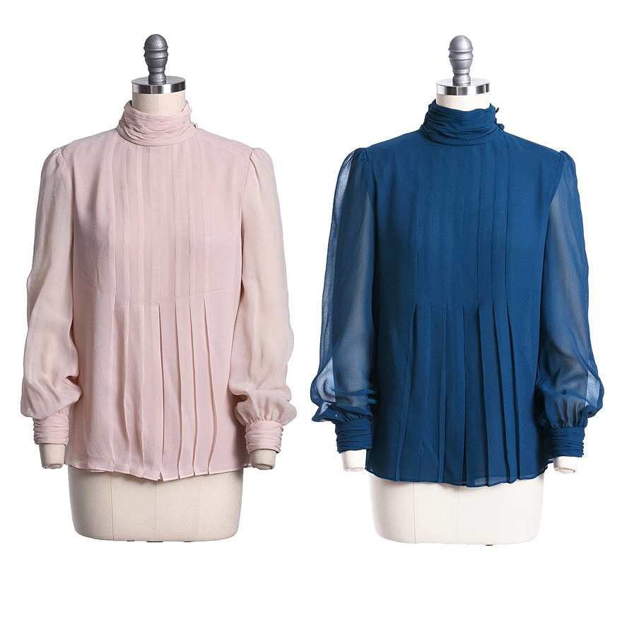 ed45f3ed3f332b Tory Burch Silk Blouses in Pale Petal Pink and Peacock Blue   EBTH