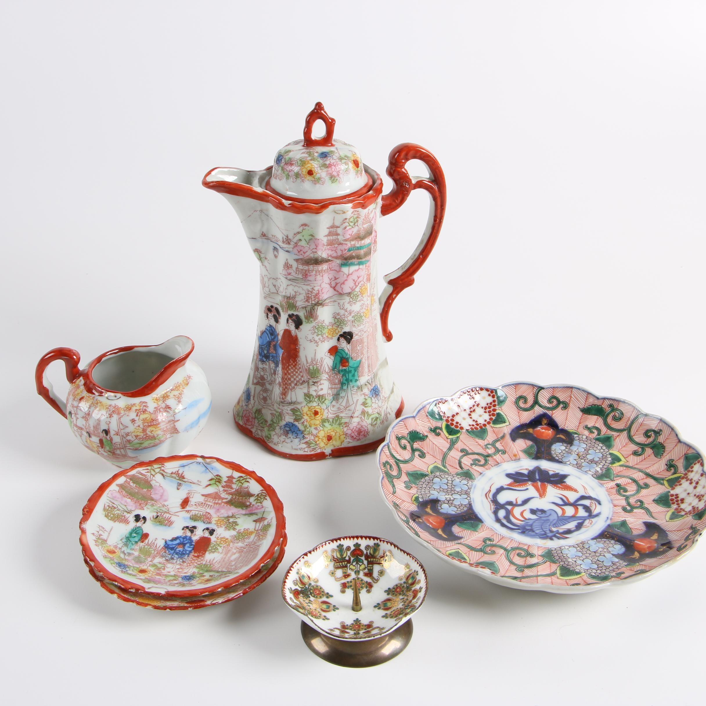 Vintage Japanese Porcelain Tableware with Austrian Enameled Candle Holder