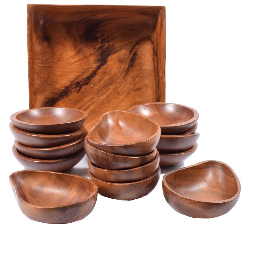 vintage koa wood salad bowl set - Wooden Salad Bowl Set