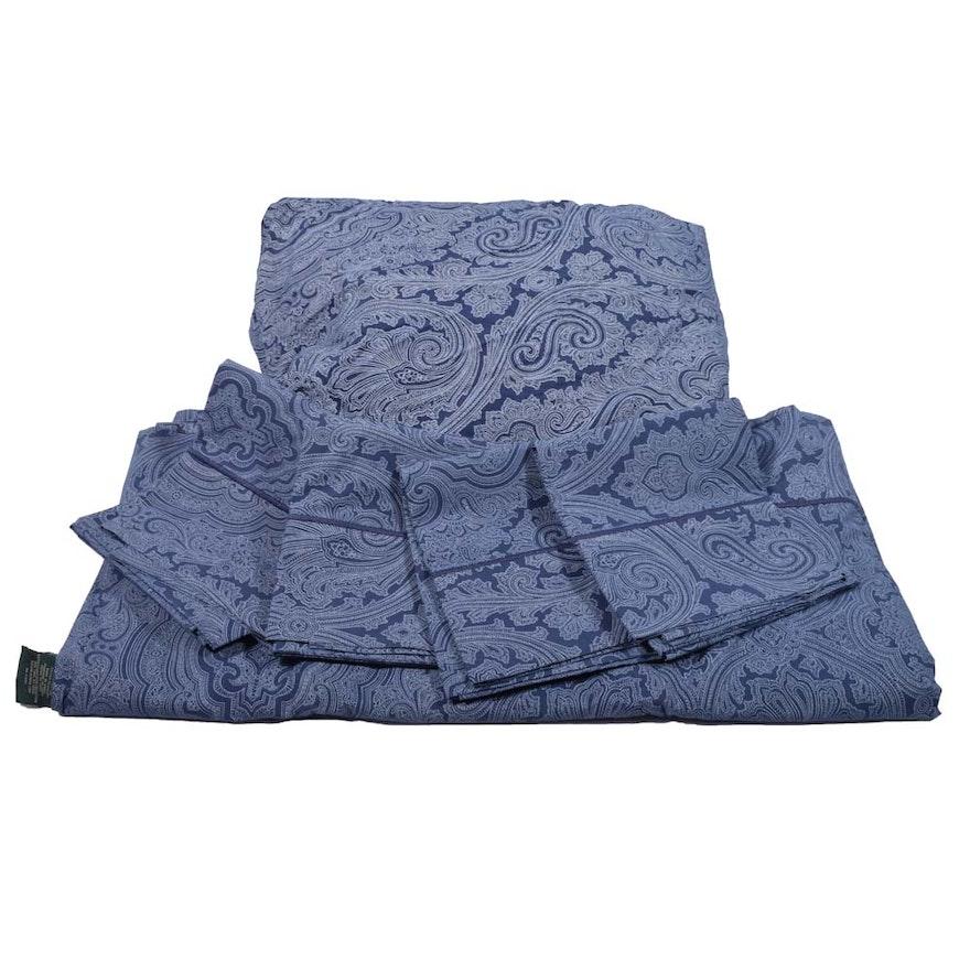 Ralph Lauren Blue Damask Patterned Queen Size Bedding Ebth