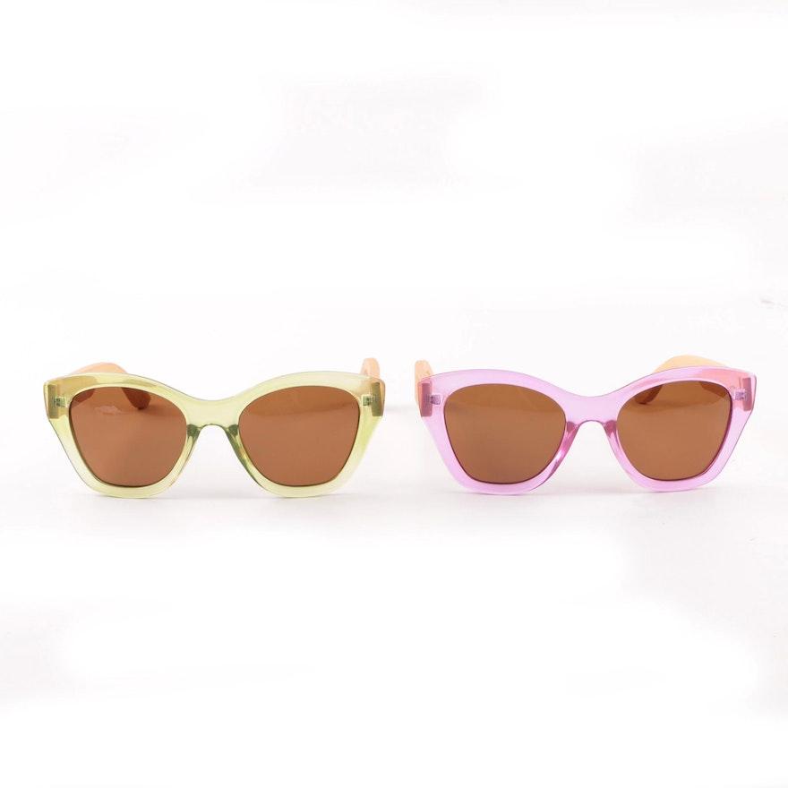 df9e6ece02 Moana Road Pink and Green Transparent Cat Eye Sunglasses   EBTH