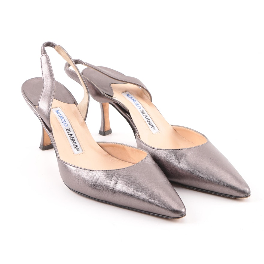7224fb020e9 Manolo Blahnik Carolyne Platinum Leather Slingback Pumps   EBTH