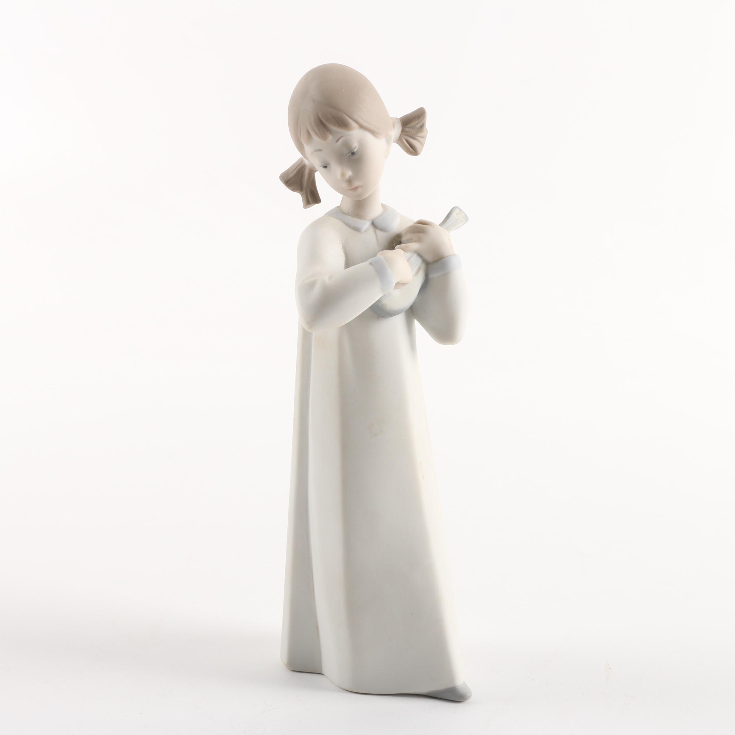 "Lladró ""Girl with Guitar"" Bisque Porcelain Figurine"