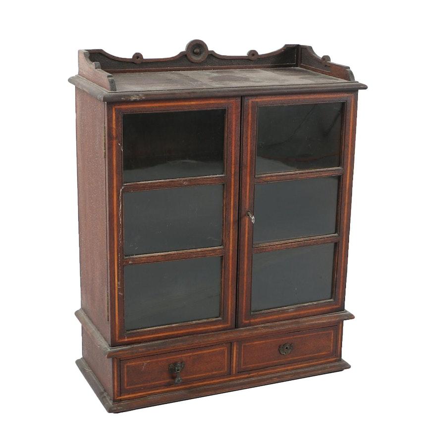 Vintage Glass Door Wooden Cabinet Ebth
