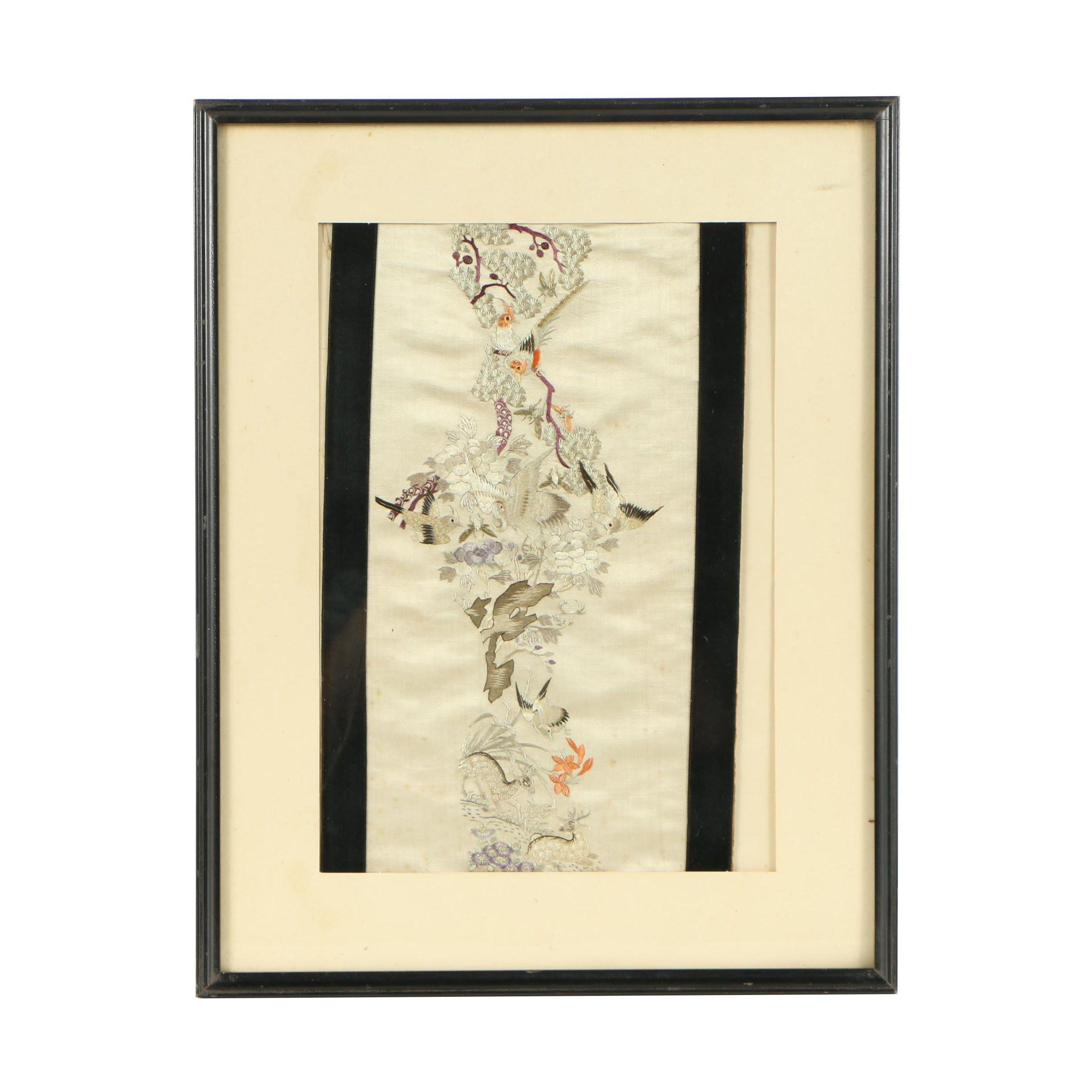 Framed Japanese Silk Embroidered Panel Ebth