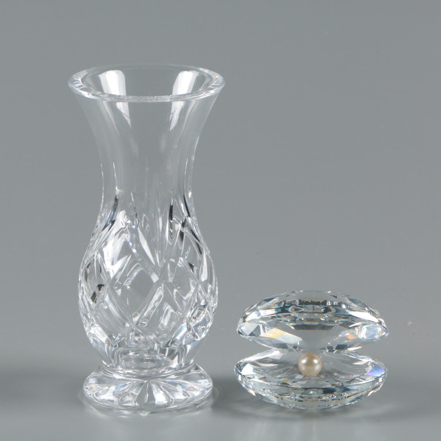 Swarovski Crystal Shell With Pearl And Crystal Vase Ebth