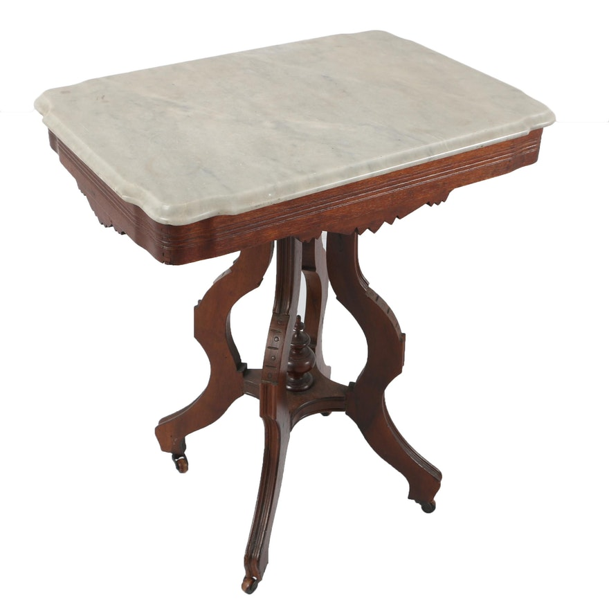 antique eastlake marble top accent table ebth