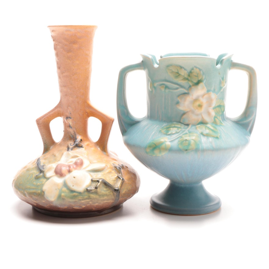Roseville Pottery Vases In White Rose And Magnolia Patterns Ebth