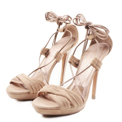 Burberry Lace-Up Taupe Suede Stiletto Heels