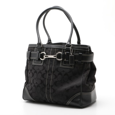Coach Hampton Black Signature Canvas Handbag