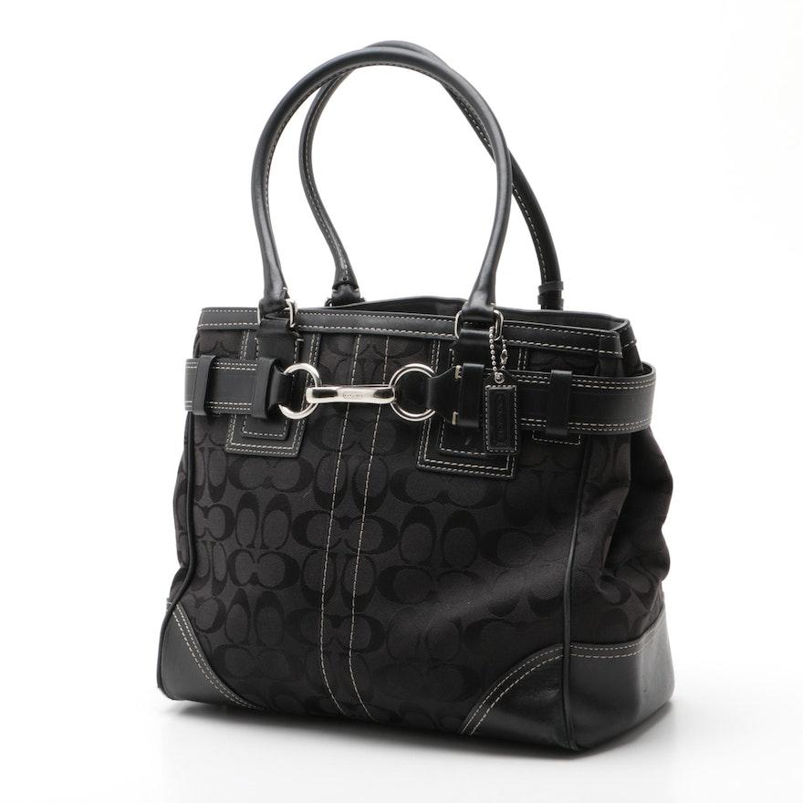Coach Hampton Black Signature Canvas Handbag
