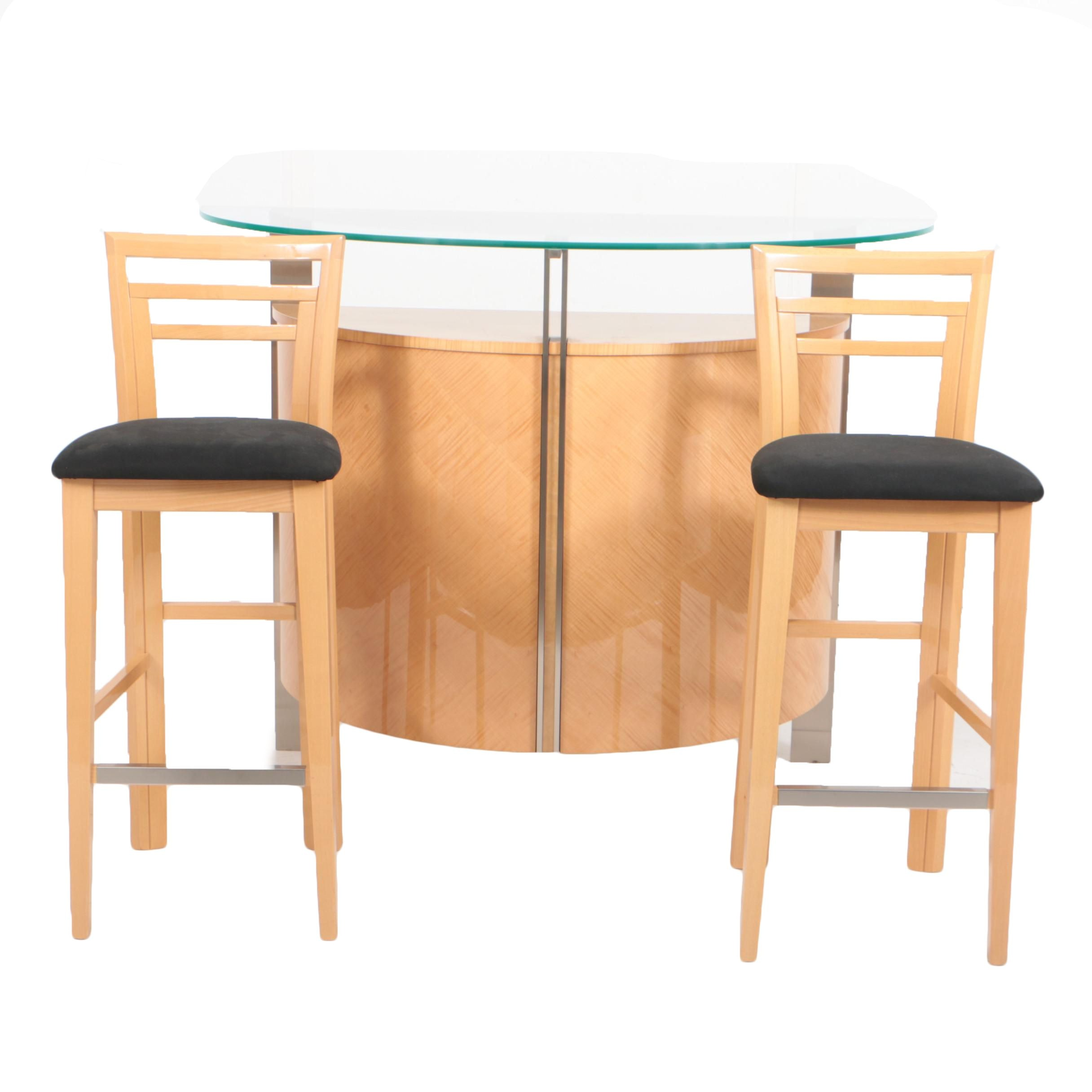 Excelsior Designs Steel Mounted Sycamore Freestanding Bar With Two Stools  ...