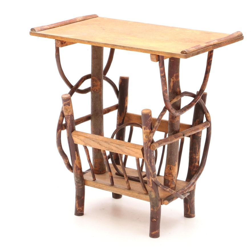 Rustic Oak End Table And Magazine Rack