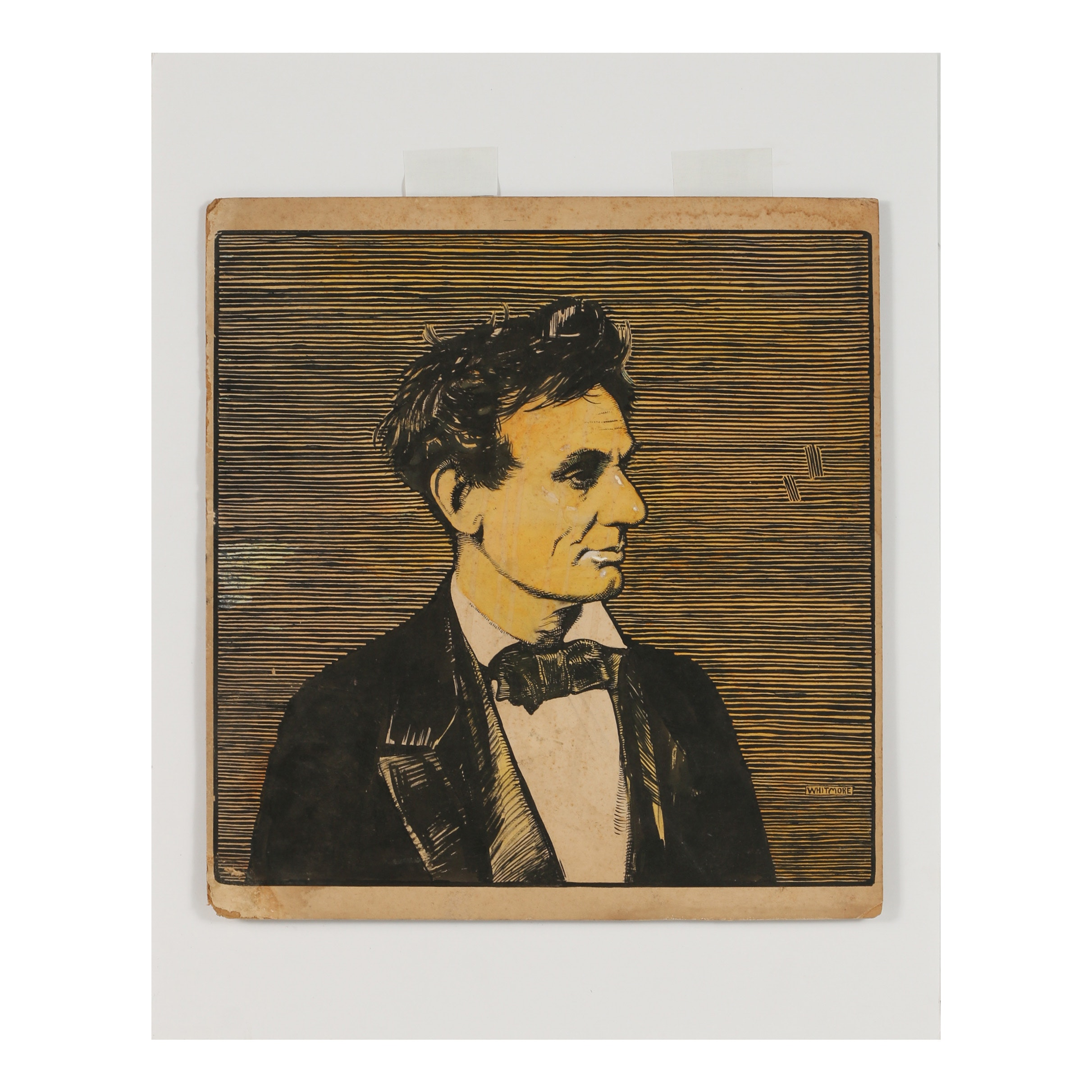 "Robert Whitmore Hand-Colored Woodblock ""Lincoln"""