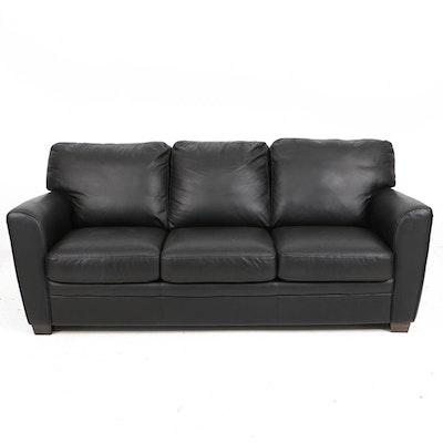 Natuzzi Black Leather Three-Seat Sleeper Sofa