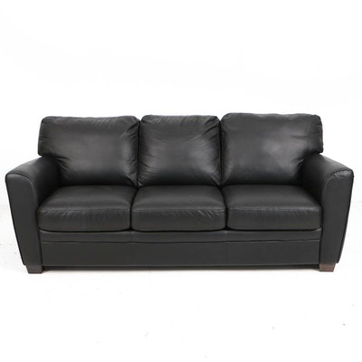 Natuzzi Black Leather Three-Seat Sleeper Sofa