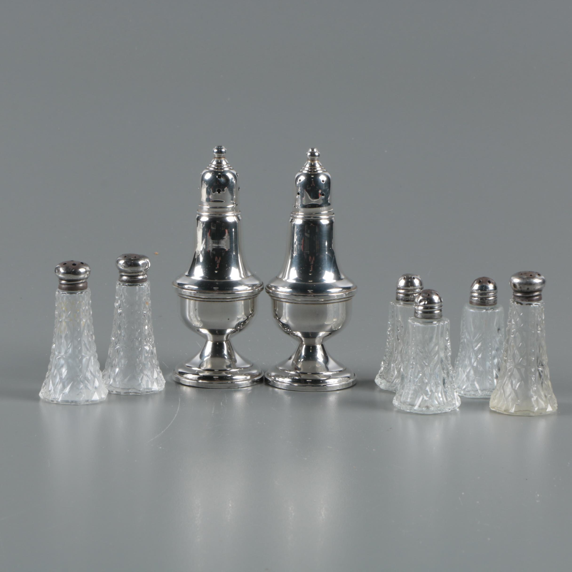 Empire Weighted Sterling Shakers with Sterling Capped Glass Shakers