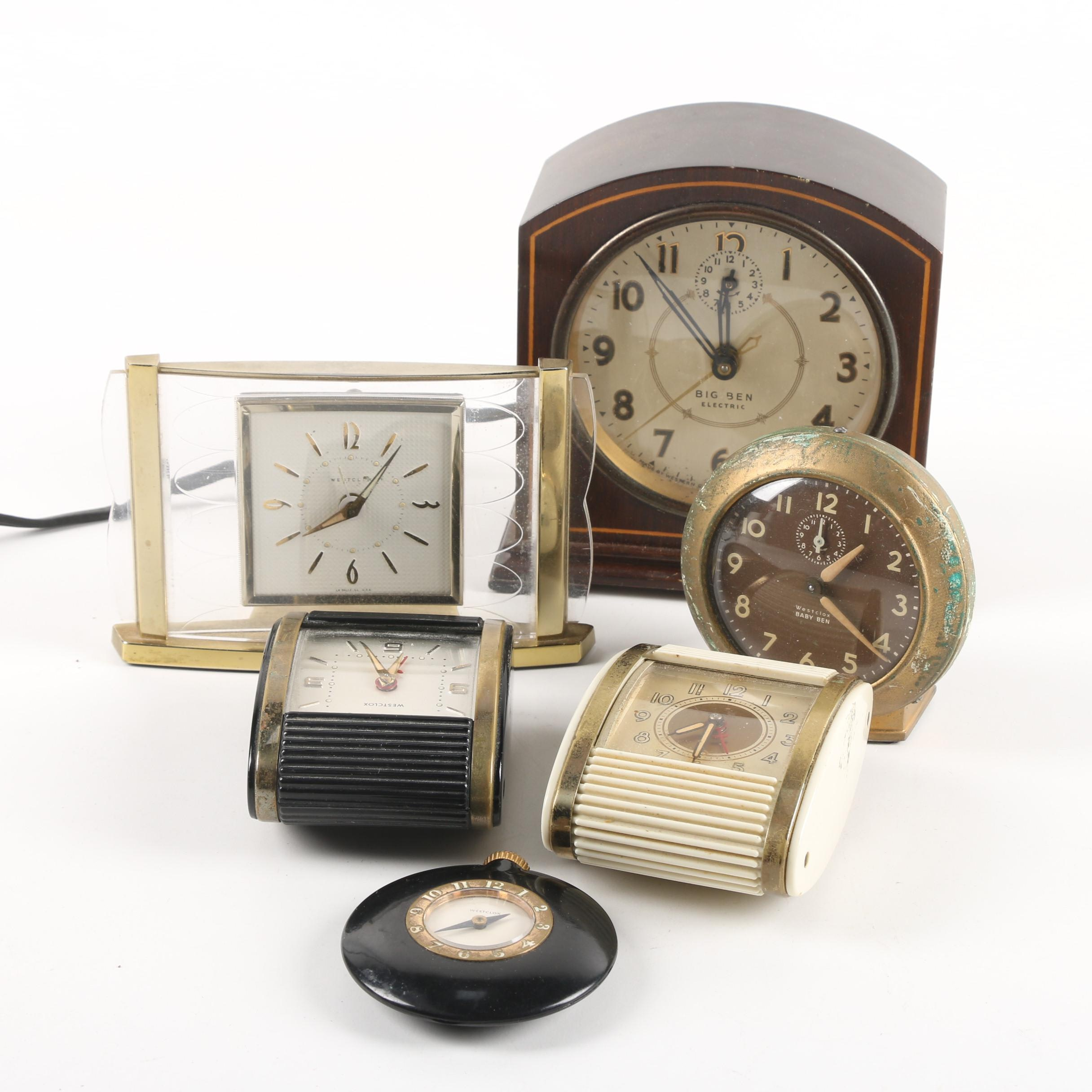 Vintage Westclox Alarm Clocks with Western Clock Co. Shelf Clock