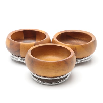 Nambe Teak Wood Bowls on Chrome Stand