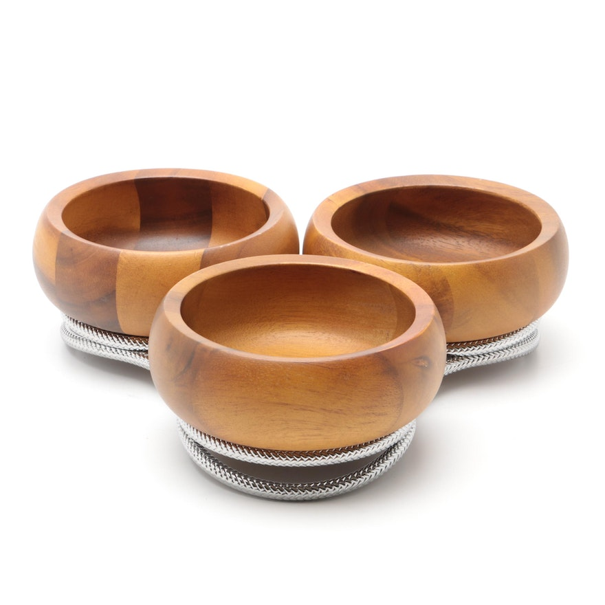 Nambe Teak Wood Bowls on Chrome Stand