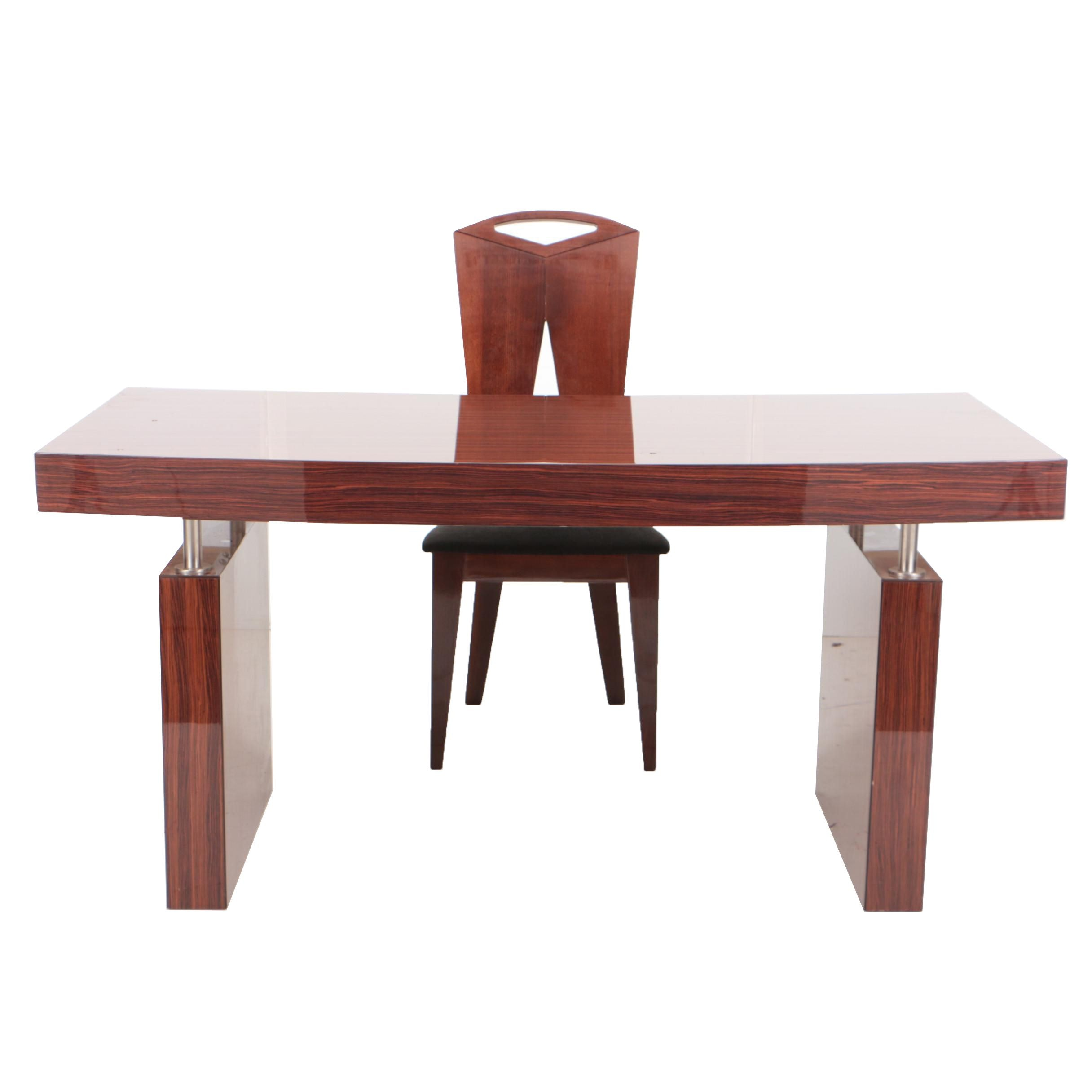 Excelsior Designs Steel-Mounted Rosewood Writing Table with Beech Side Chair