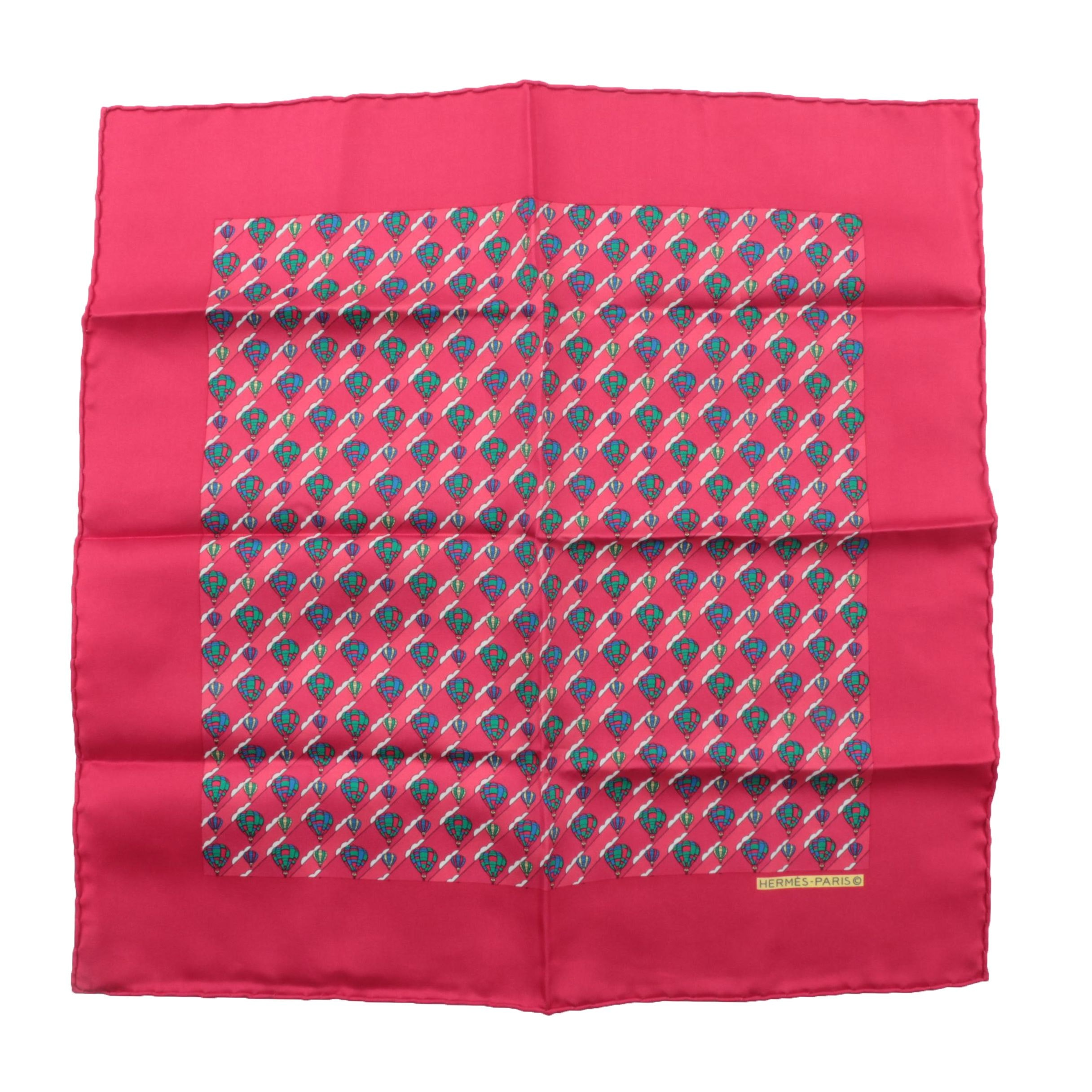 Hermès Paris Red Hot Air Balloon Silk Pocket Square