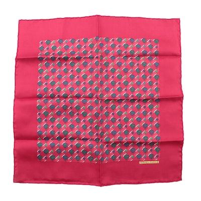 Hermès Paris Red Hot Air Balloon Silk Pocket Square