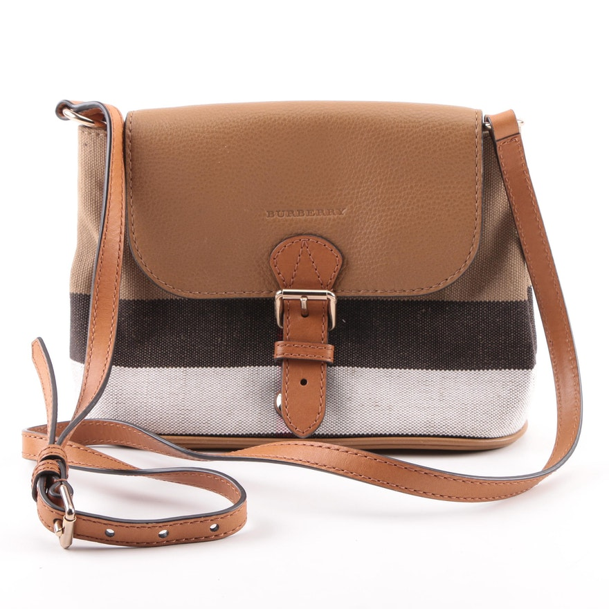 212fd42309f5 Burberry Checked Canvas and Leather Flap Shoulder Bag   EBTH