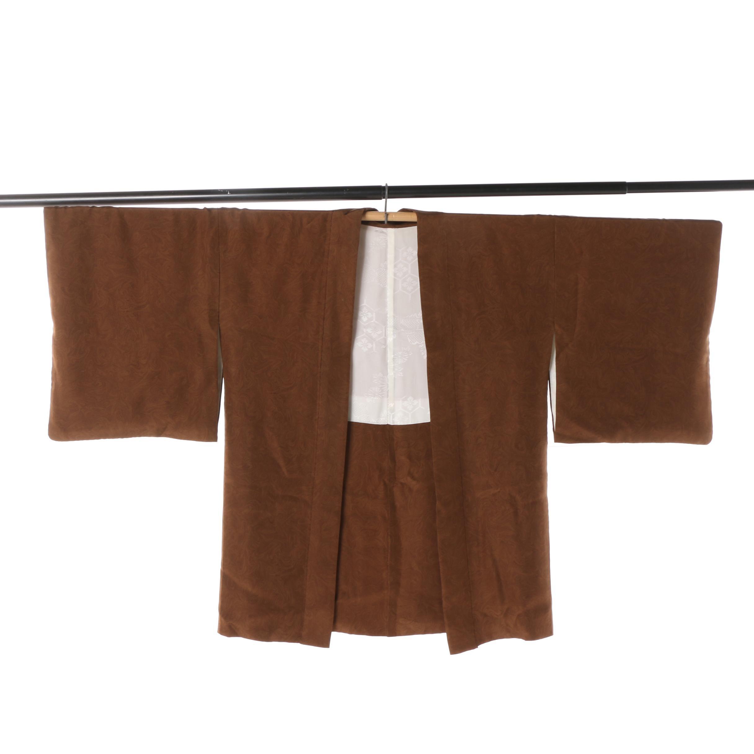 Men's Vintage Japanese Brown Silk Damask Haori Jacket