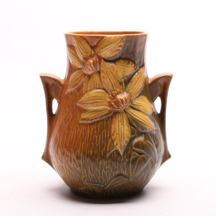 Roseville Pottery Vase In The Clematis Pattern Ebth
