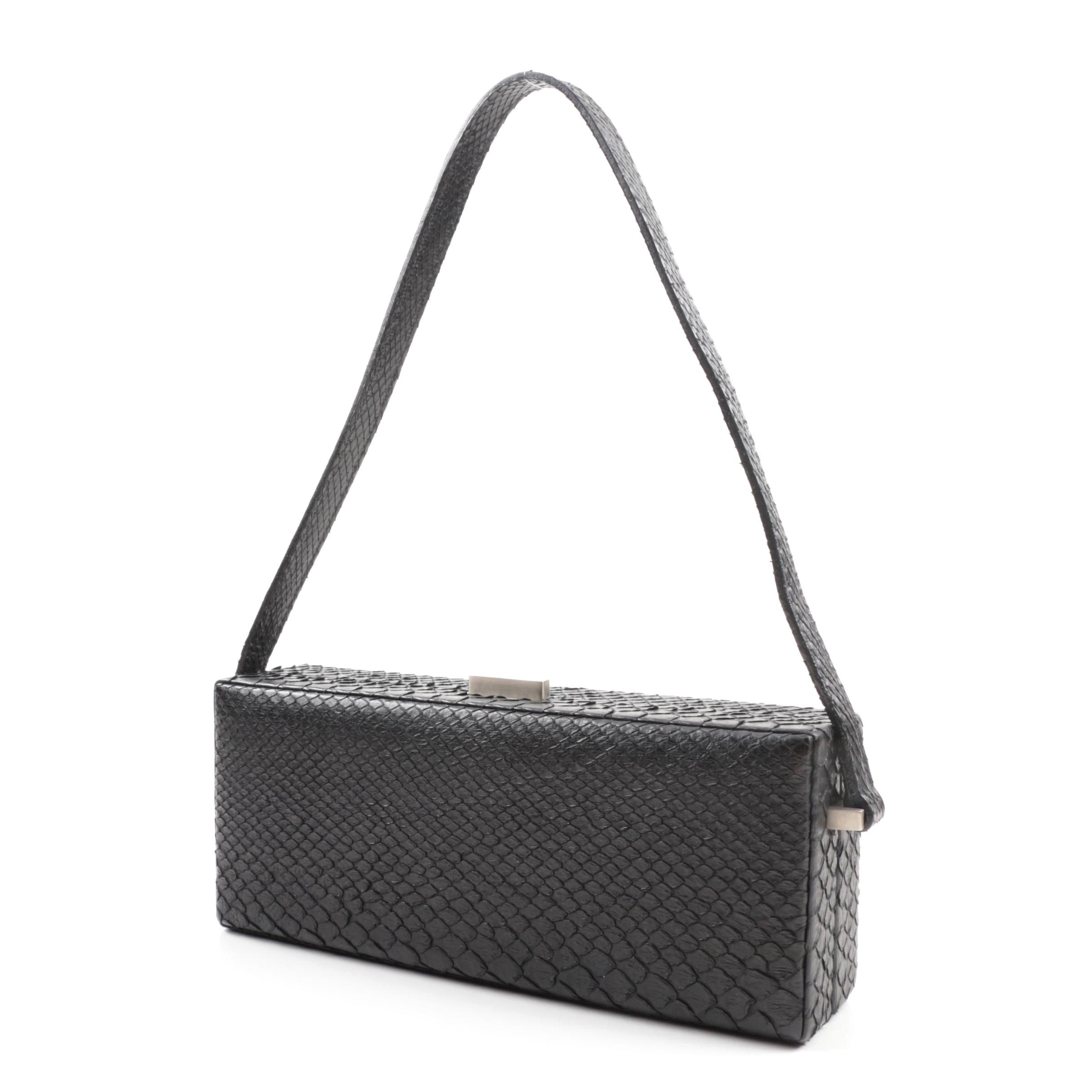 Boxy Calvin Klein Black Snakeskin Handbag