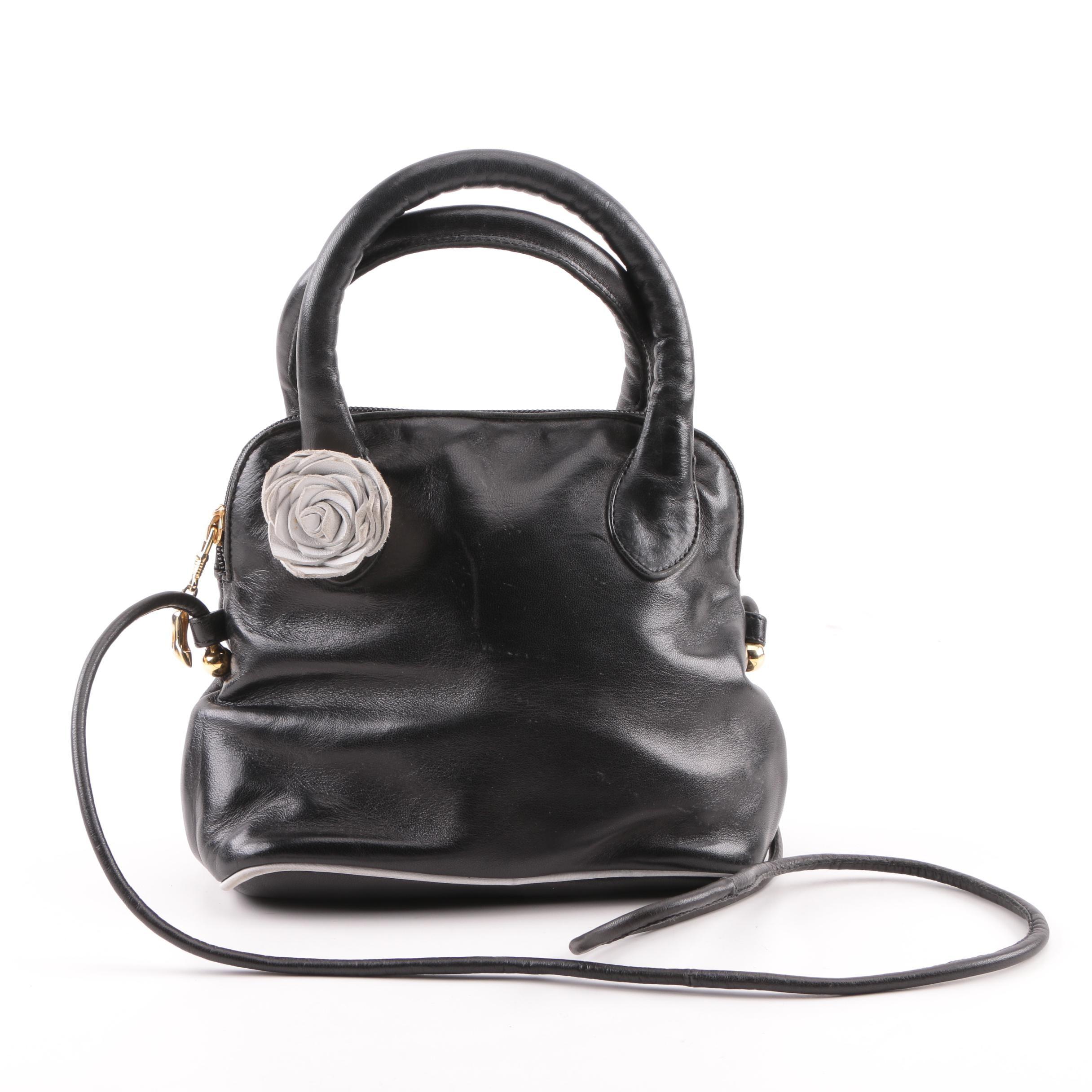 Vintage Maud Frizon Paris Black Leather Satchel with Rosette