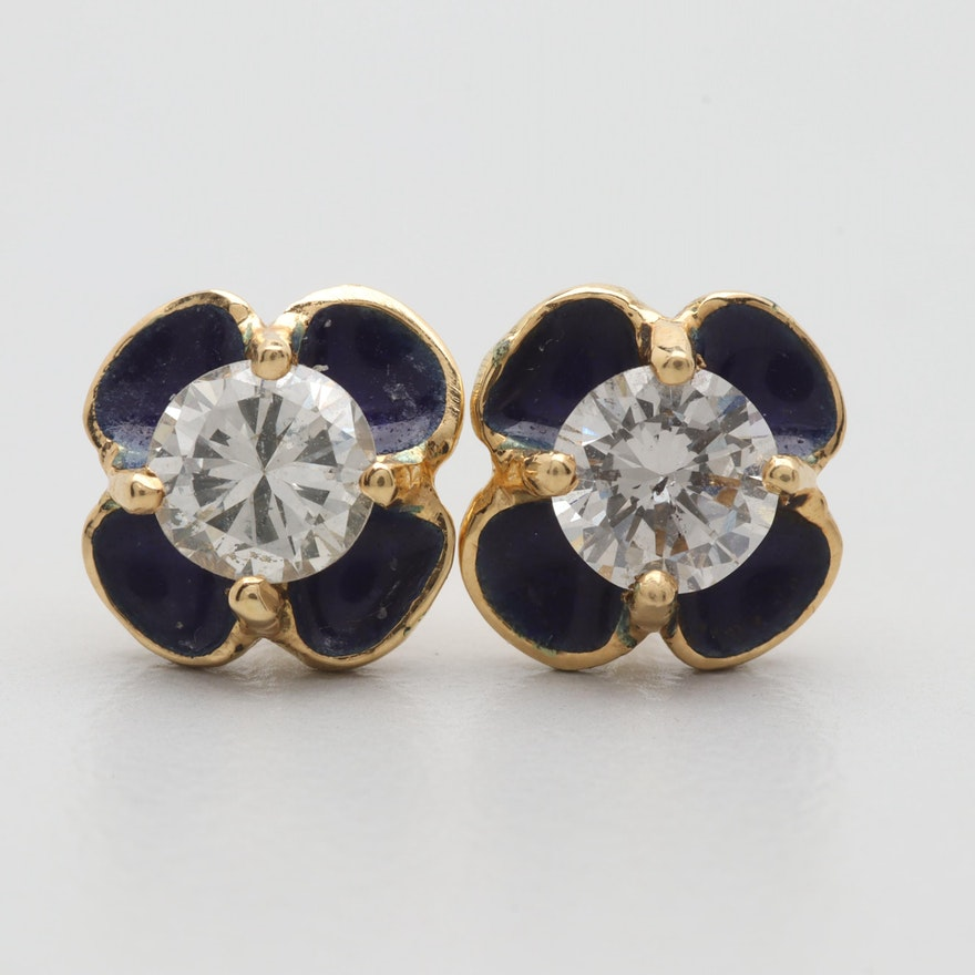 33a72beca 18K Yellow Gold Diamond and Enamel Stud Earrings : EBTH