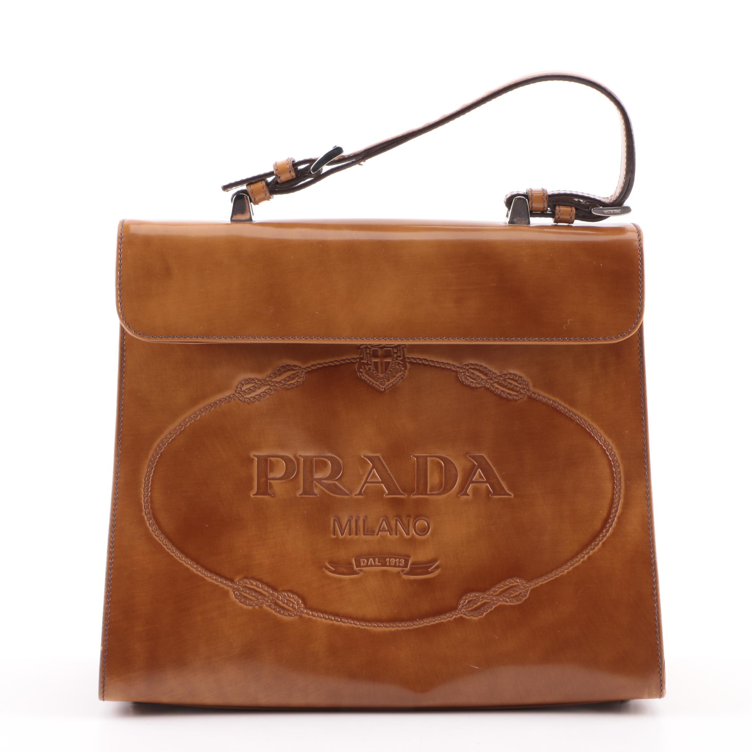2005 Prada Ambra Spazzolato Leather Frame Bag
