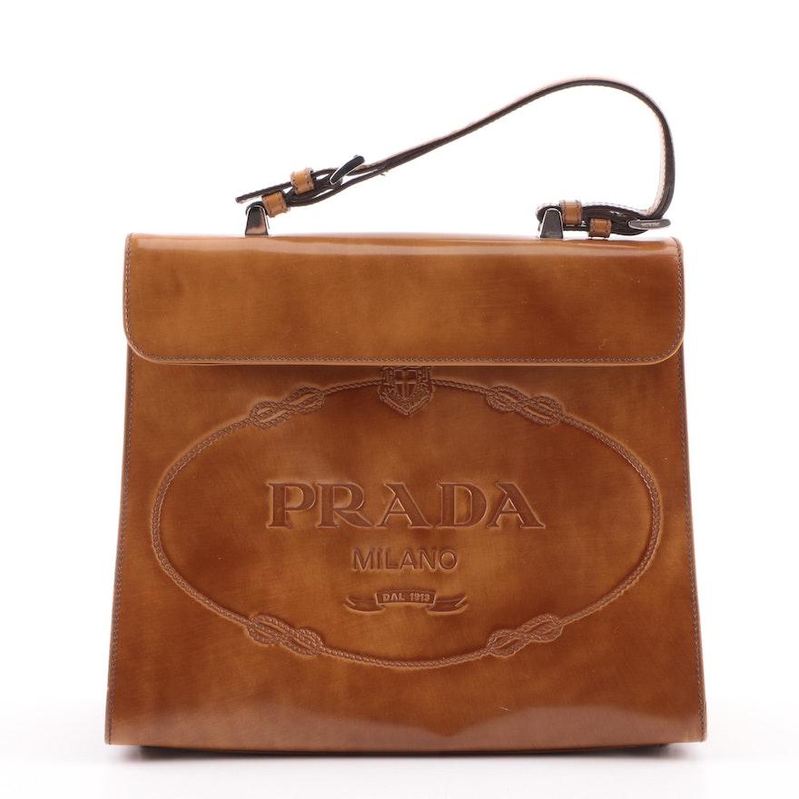 fc688ed841a6 2005 Prada Ambra Spazzolato Leather Frame Bag | EBTH