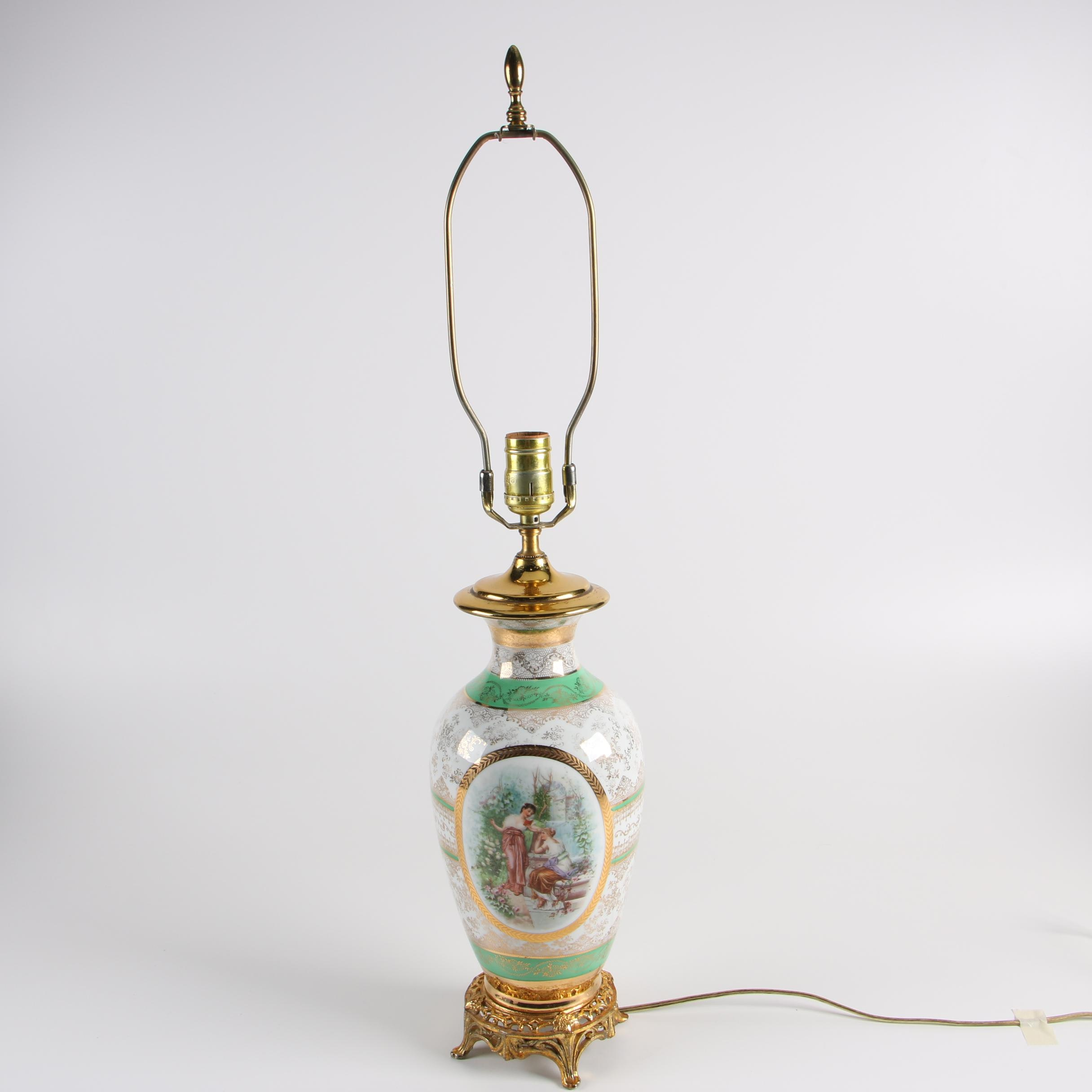 Glass Mounted Vase Table Lamp with Figurative Scene and Gilt Accents