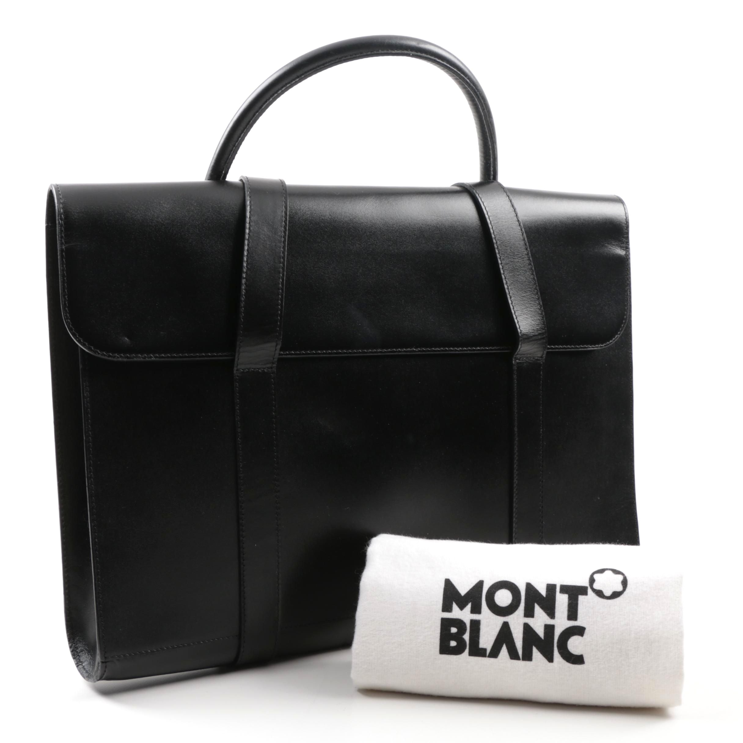 Mont Blanc Black Leather Briefcase with Gold Bar, Made in Germany