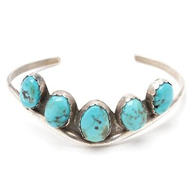 Z. Otero Navajo Sterling Silver Turquoise Cuff Bracelet