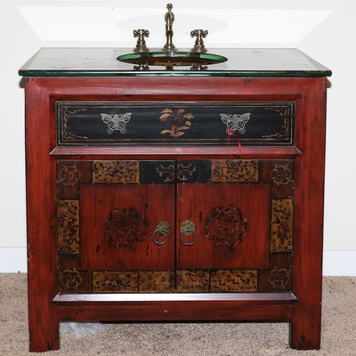 Chinoiserie Sink Cabinet by Hooker Furniture - Vintage Bathroom Vanities Used Bathroom Vanities For Sale : EBTH