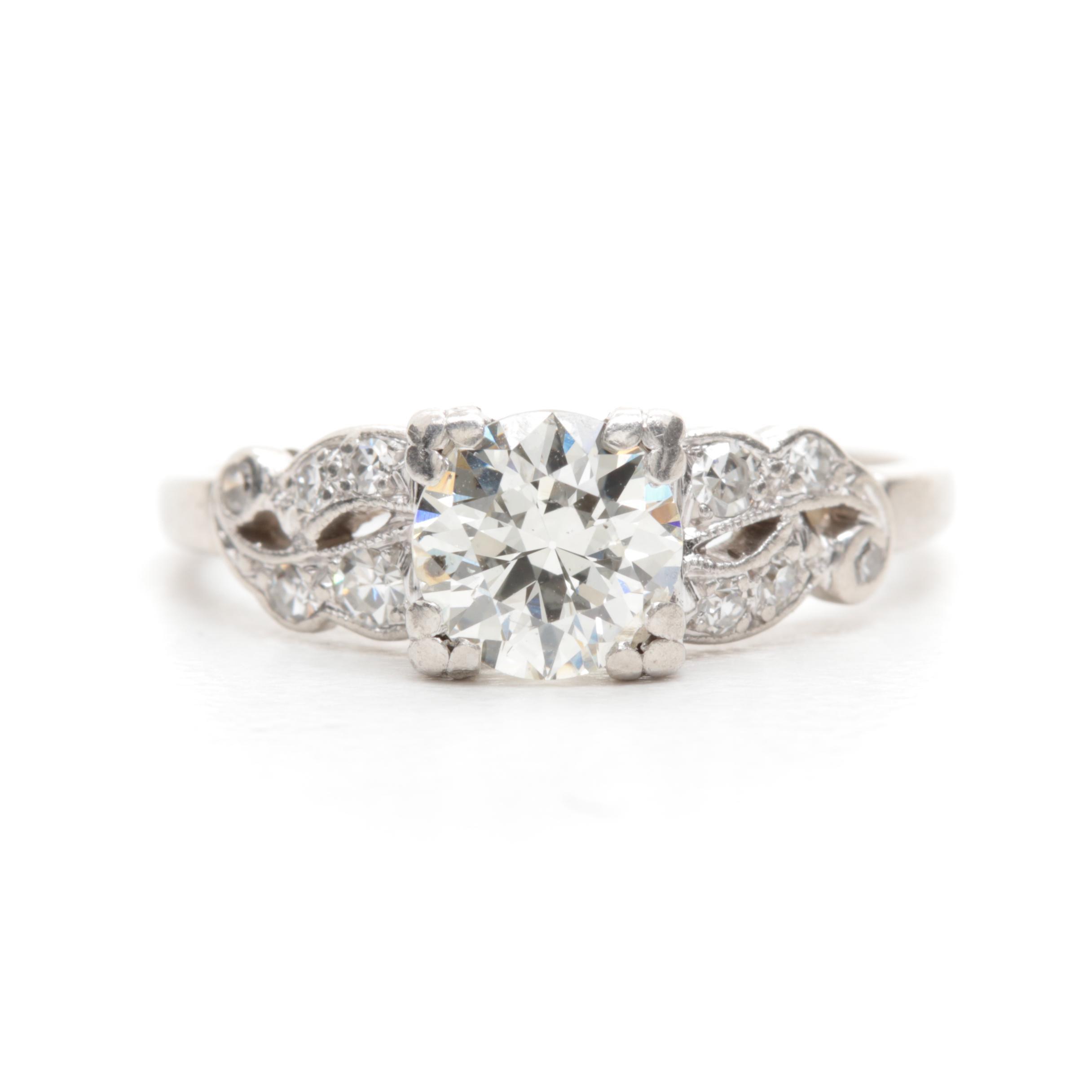 Platinum 0.90 CTW Diamond Ring