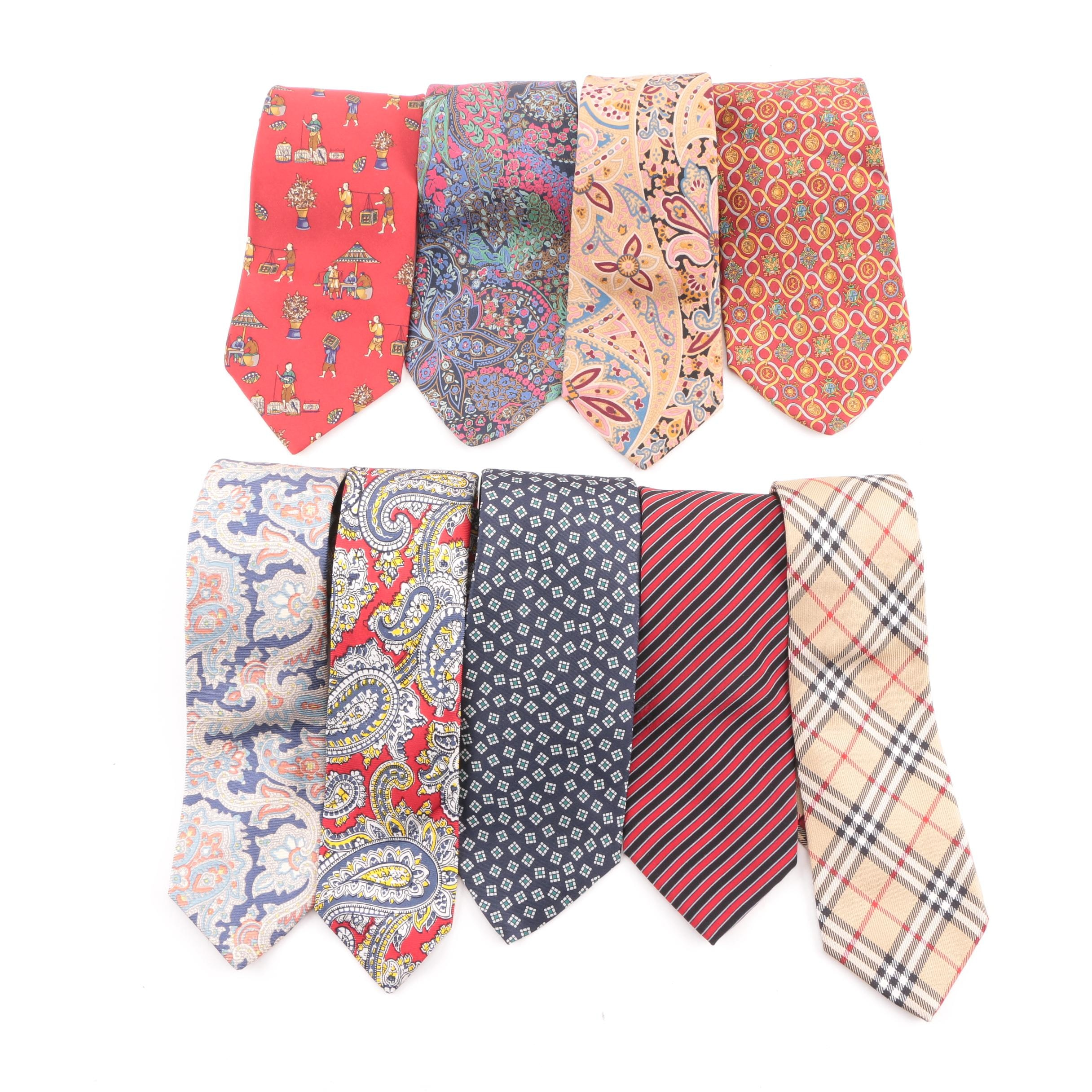Men's Vintage Silk Neckties Including Burberry, Jaeger and Salvatore Ferragamo
