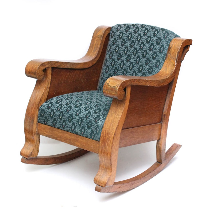 Excellent Antique Quartersawn Oak Veneer Rocking Chair Creativecarmelina Interior Chair Design Creativecarmelinacom