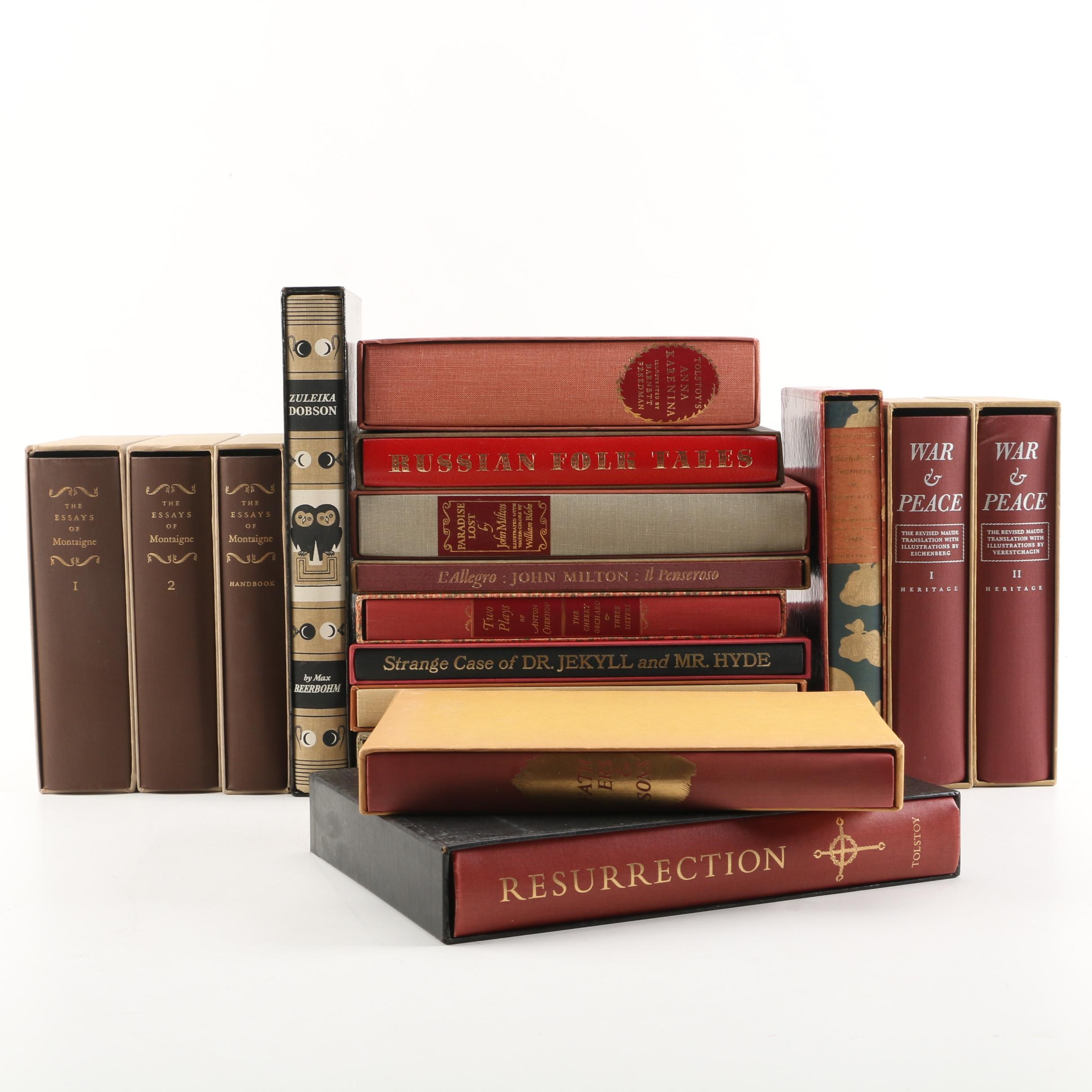 Heritage Press Editions of Classics featuring Leo Tolstoy and Montaigne