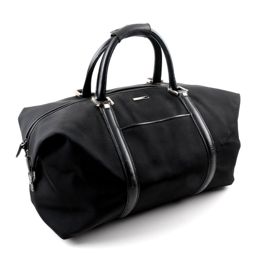 fa9595ab16ed Gucci Black Canvas Duffel Bag with Leather Trim