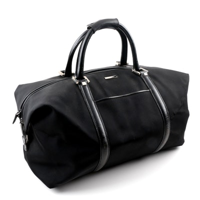 Gucci Black Canvas Duffel Bag with Leather Trim