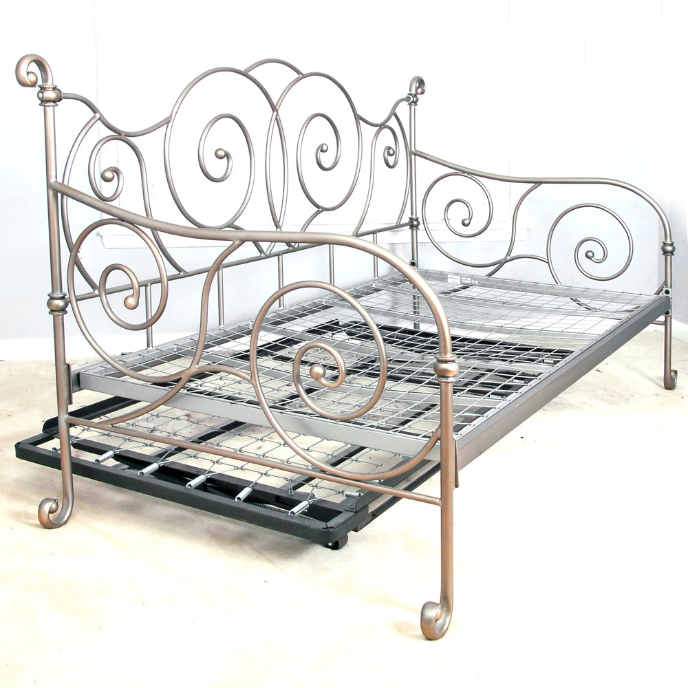 Metal Twin Size Daybed with Trundle Frame