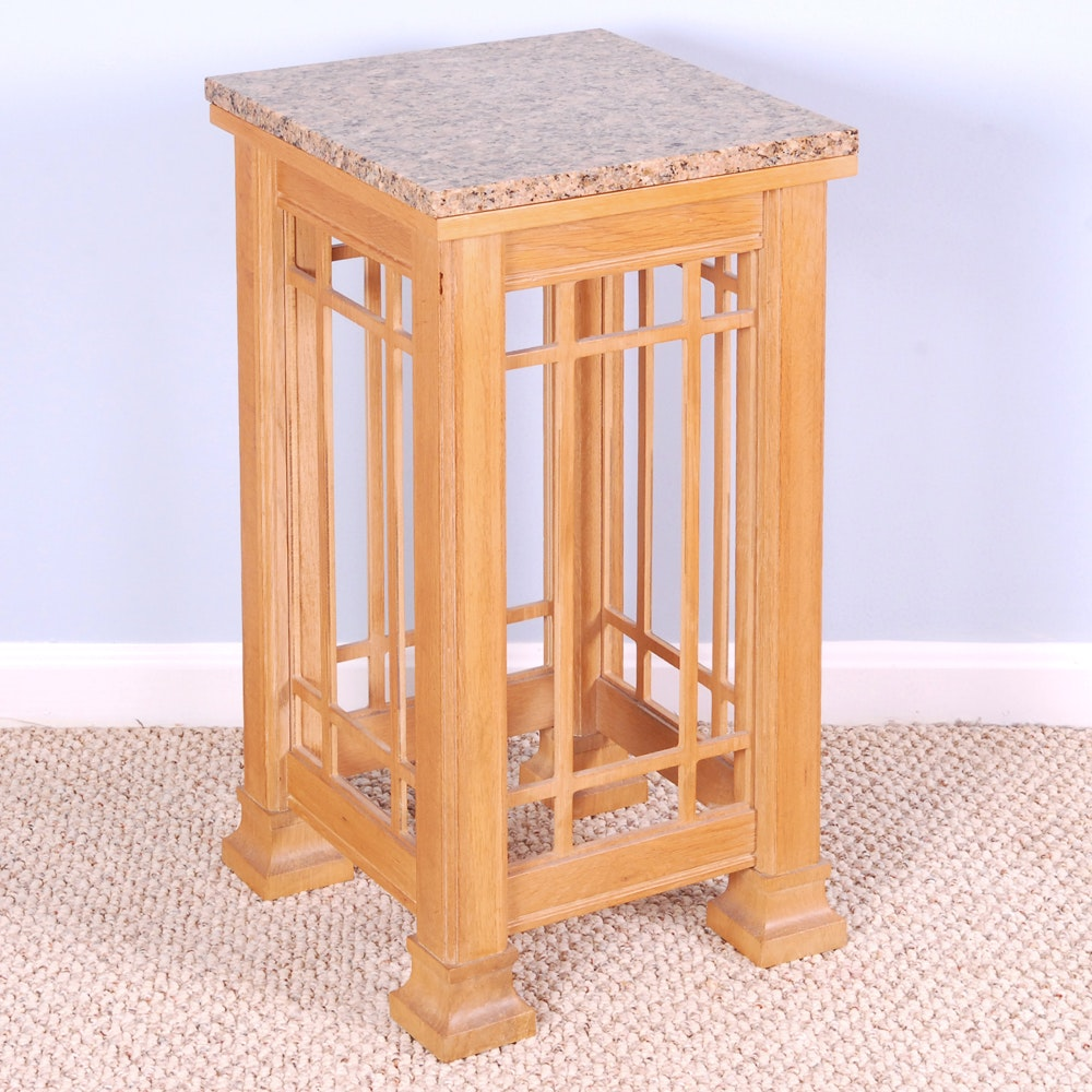 Stone Top Mission Style Side Table