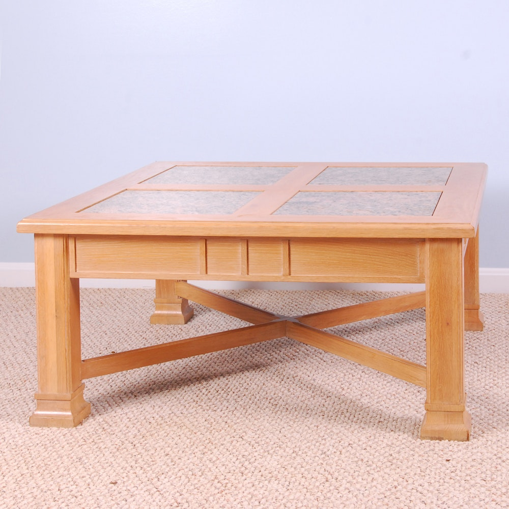 Stone Top Mission Style Coffee Table